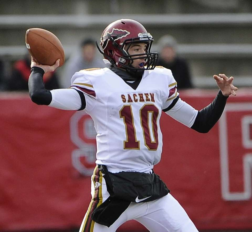 Sachem East quarterback Danny Wolff passes against Floyd