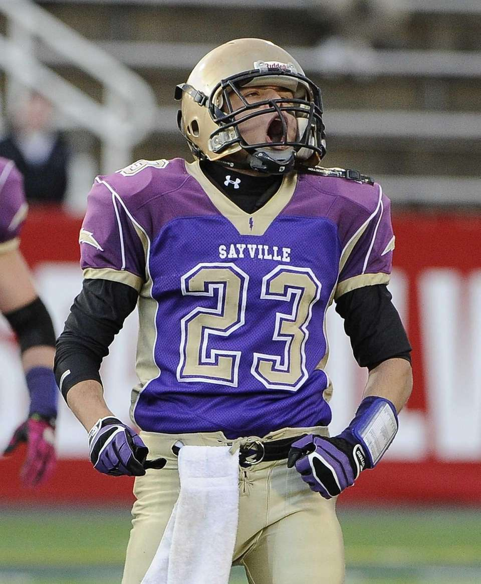 Sayville's James Giattino reacts to a fumble recovery