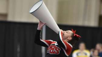 Plainedge freshman Isabel Betts cheering during the Division