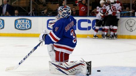 Igor Shesterkin of the Rangers looks on as