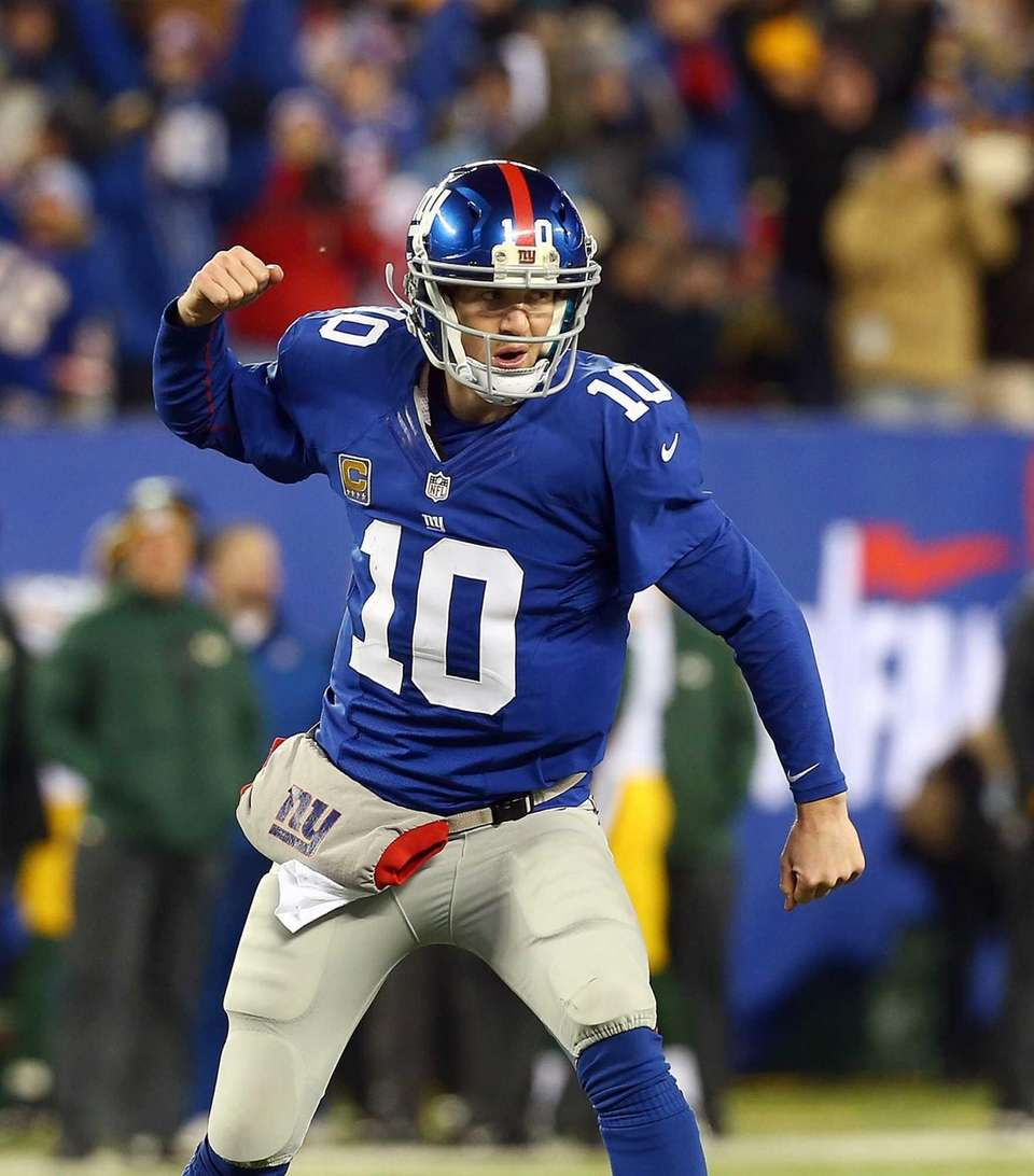 Eli Manning of the New York Giants celebrates
