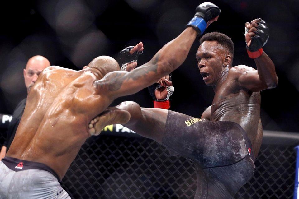 UFC middleweight champion Israel Adesanya of Nigeria kicks