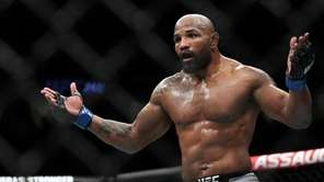 Yoel Romero reacts after failing to catch UFC