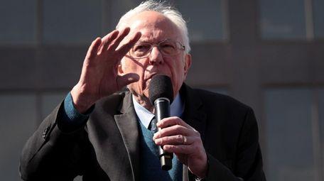 Sen. Bernie Sanders at his campaign rally Sunday