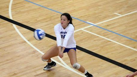 Hofstra senior volleyball player Kaylee Maneja bumps the