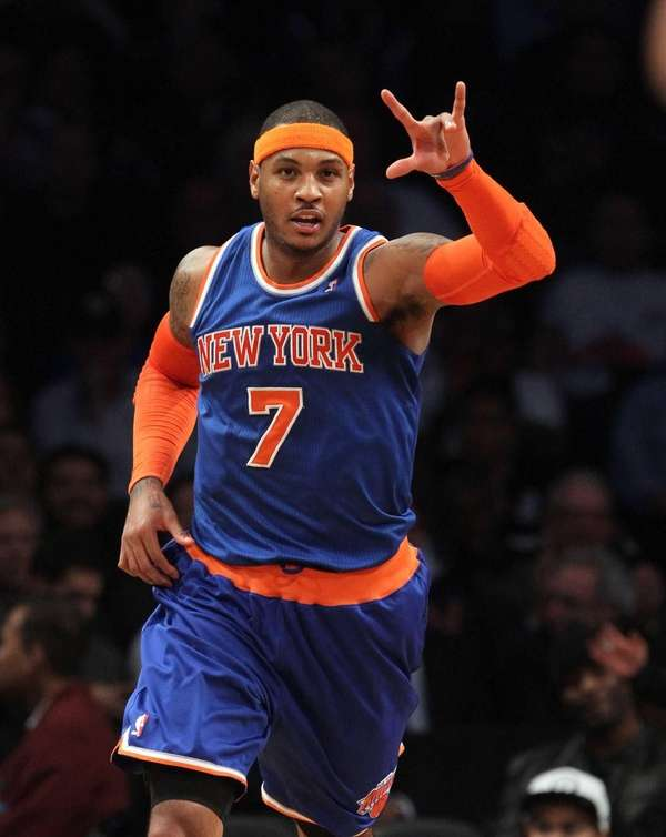 Carmelo Anthony of the New York Knicks celebrates