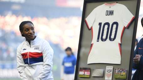 Crystal Dunn of the United States is honored