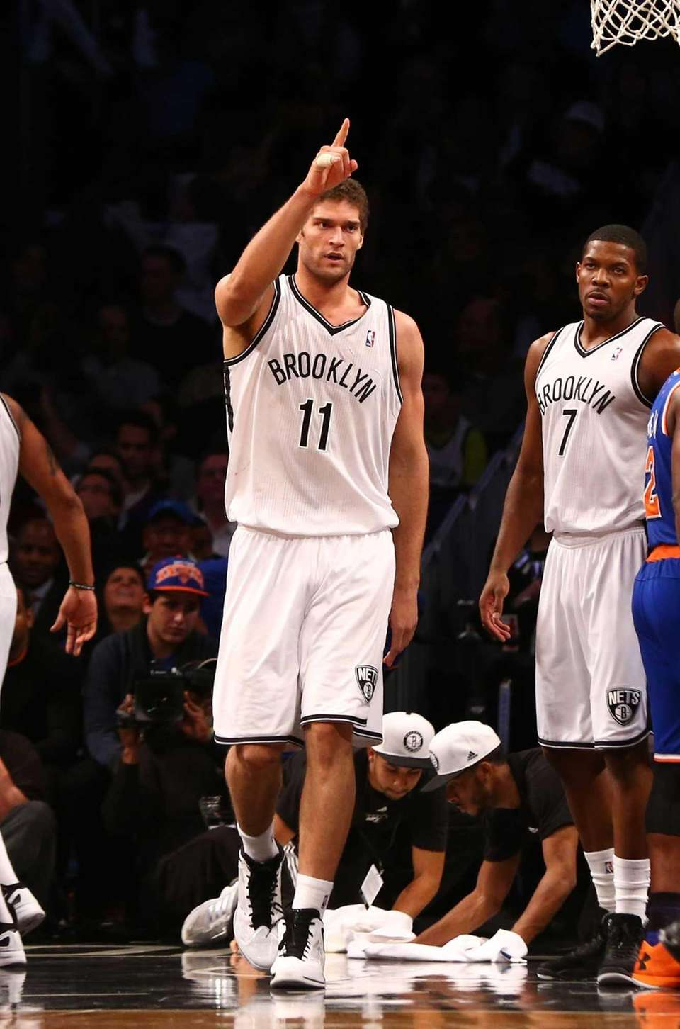Brook Lopez of the Brooklyn Nets celebrates a