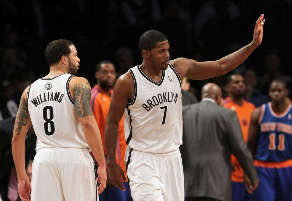 Joe Johnson and Deron Williams of the Brooklyn