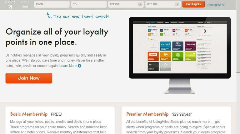 The website usingmiles.com stores and tracks all your