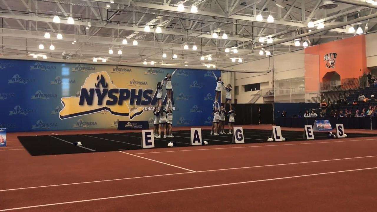 Watch Hauppauge's routine in the state cheerleading championships