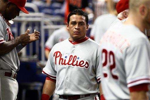 Philadelphia Phillies catcher Carlos Ruiz stands in the