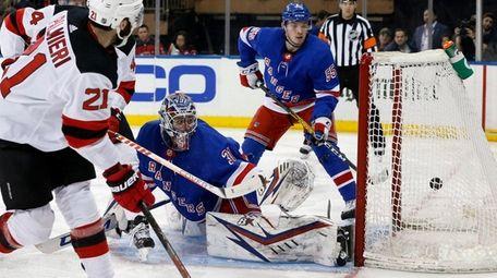 Igor Shesterkin of the Rangers surrenders a goal