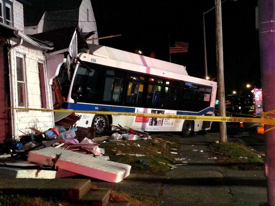 A NICE bus crashed into a house in