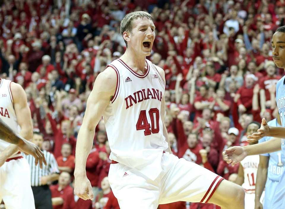 Indiana's Cody Zeller celebrates during a game against