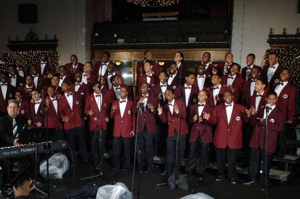 Members of the Boys Choir of Harlem sing