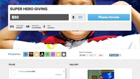 A screen shot of one of the fundraising