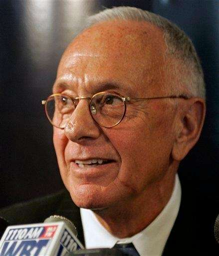 Larry Brown talks with reporters. (April 29, 2008)
