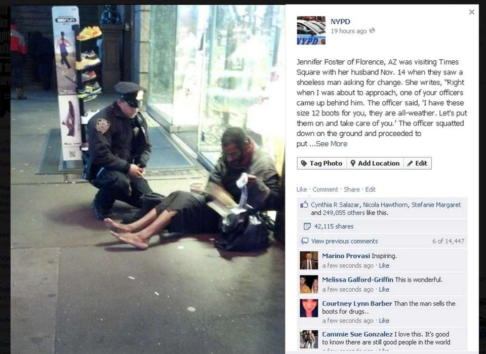 This Facebook posting about the NYPD officer who