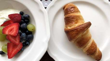 Croissants and fruit salad at Little Kitchen in