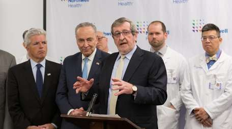 Northwell Health CEO Michael Dowling speaks during a