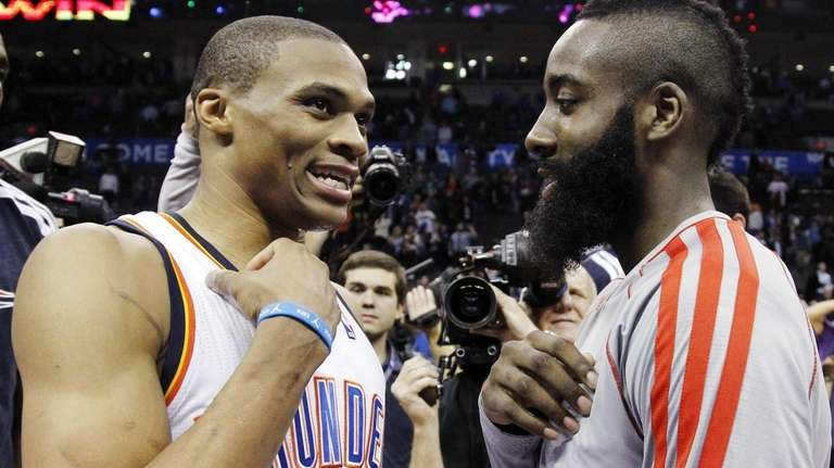 Oklahoma City Thunder guard Russell Westbrook (0) and