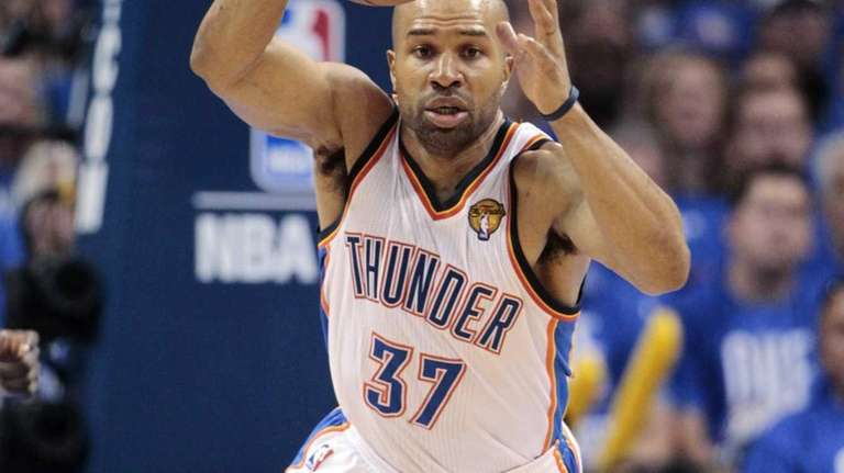 Thunder point guard Derek Fisher dribbles downcourt during