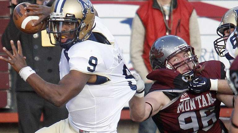 Montana State quarterback DeNarius McGhee tries to get