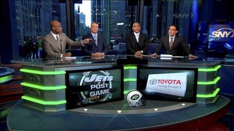 From left, SNY's Jets Post Game Live crew
