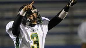 William Floyd quarterback A.J. Otranto reacts during his