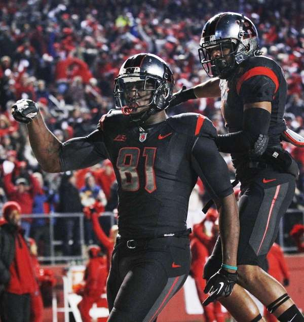 Rutgers wide receiver Mark Harrison (81) celebrates his