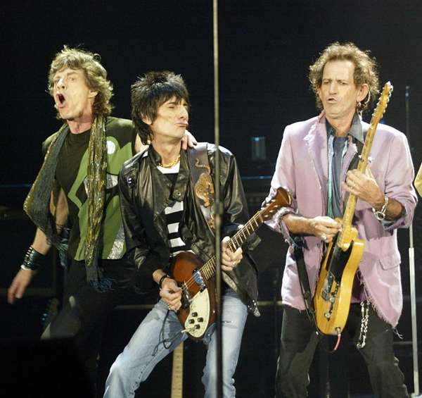 Mick Jagger, Ronnie Wood and Keith Richards perform