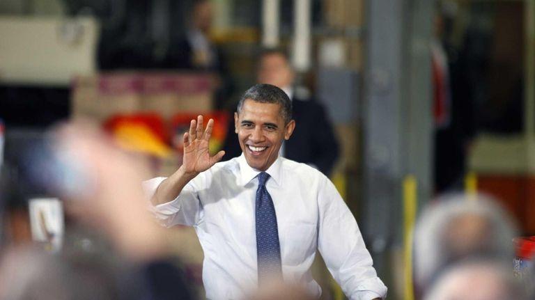 President Barack Obama arrives at The Rodon Group