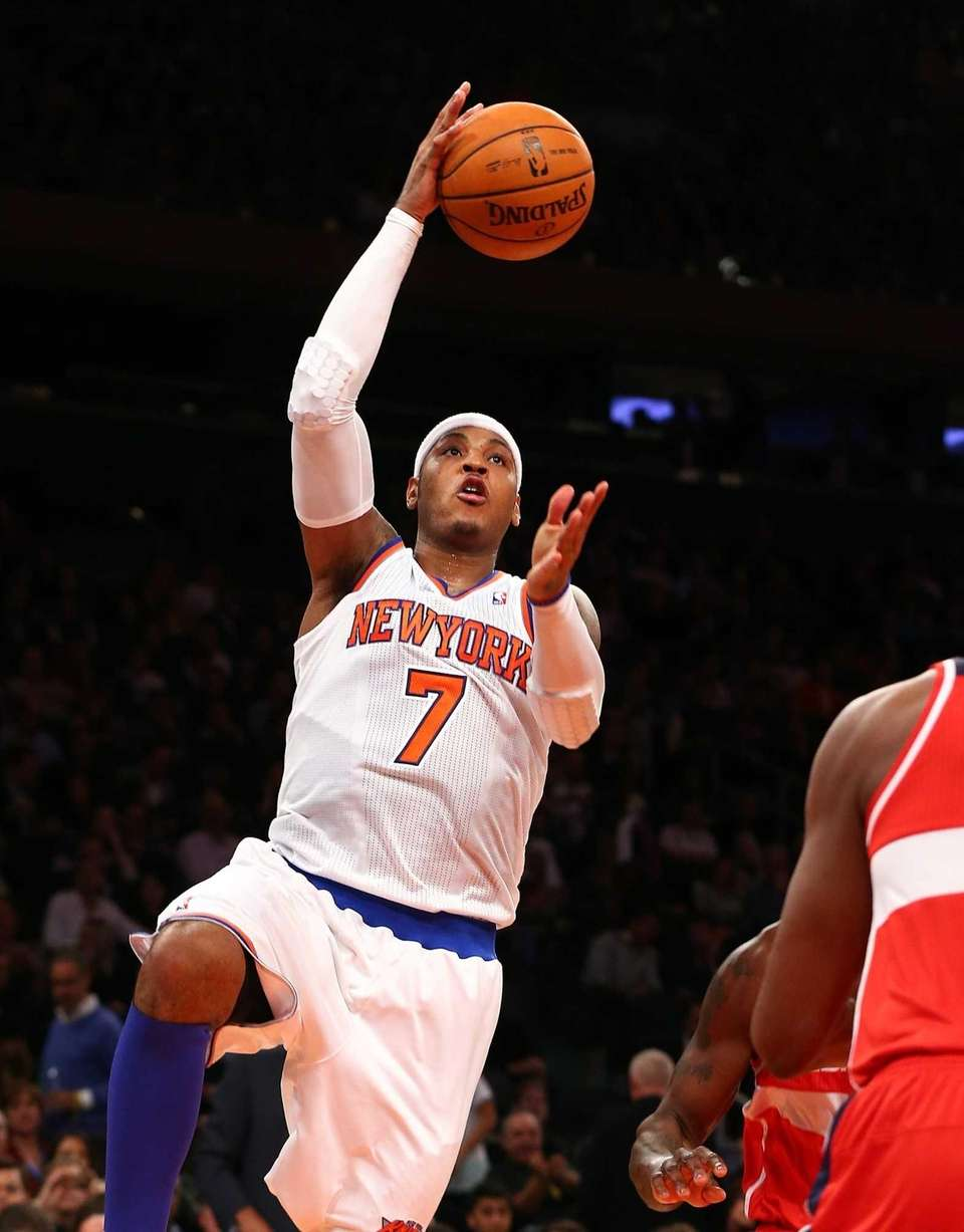 Carmelo Anthony goes to the hoop during a