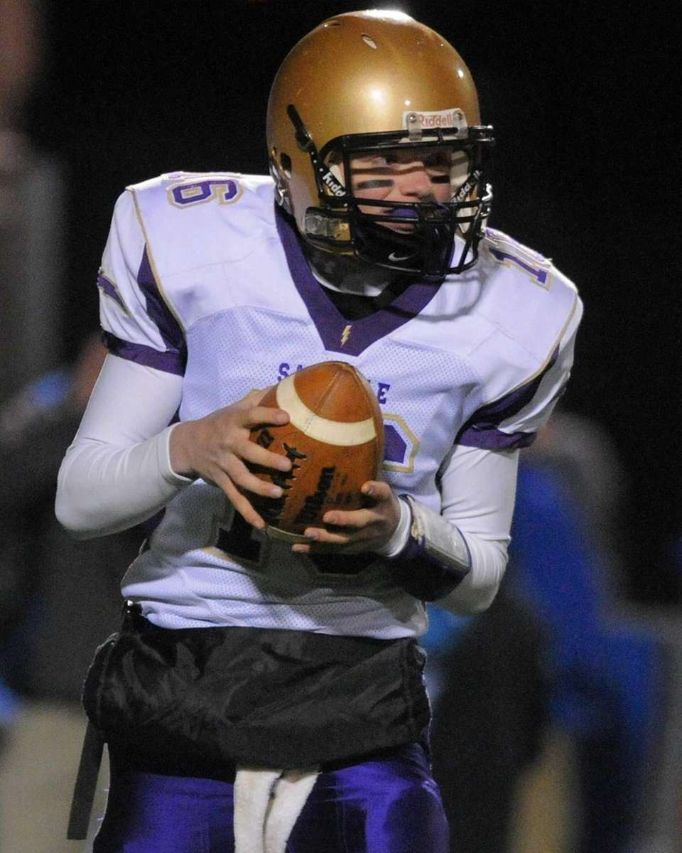 Sayville backup quarterback Donald DeKenipp, playing in place