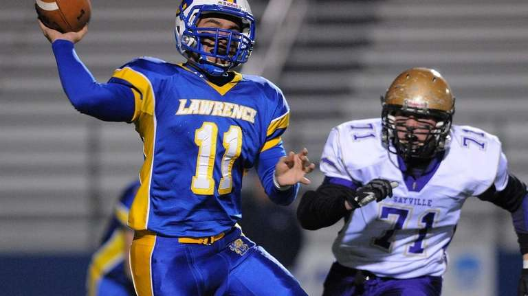 Lawrence quarterback Joe Capobianco throws a pass under