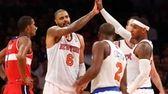 Tyson Chandler celebrates a basket with Carmelo Anthony