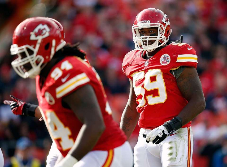 Inside linebacker Jovan Belcher (59) of the Kansas