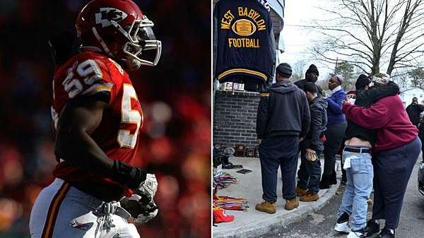 Left: Kansas City Chiefs linebacker Jovan Belcher is
