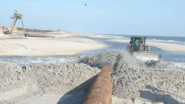Sand is being pumped out from the Moriches