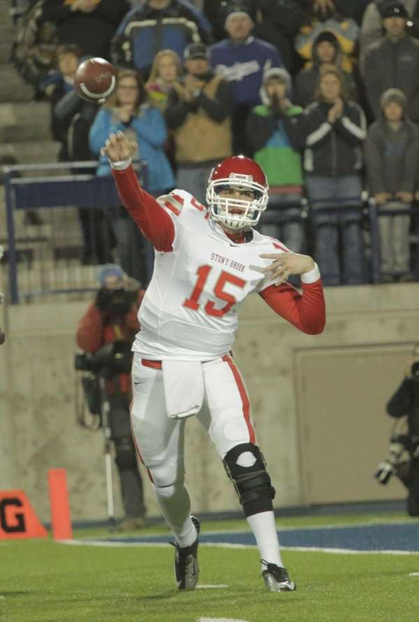 Stony Brook quarterback Kyle Essington throws the ball