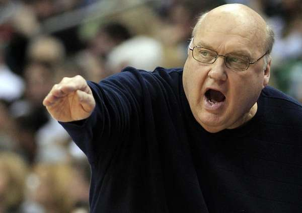 Saint Louis head coach Rick Majerus reacts during
