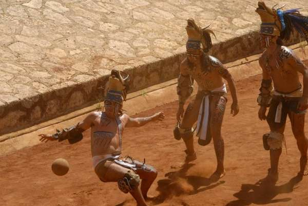 Maya Warriors playing the Mesoamerican ballgame as seen