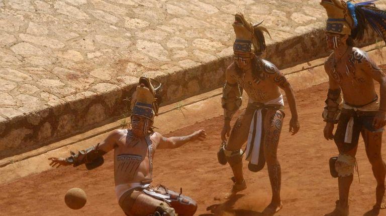 Maya Warriors playing the Mesoamerican ballgame as seen