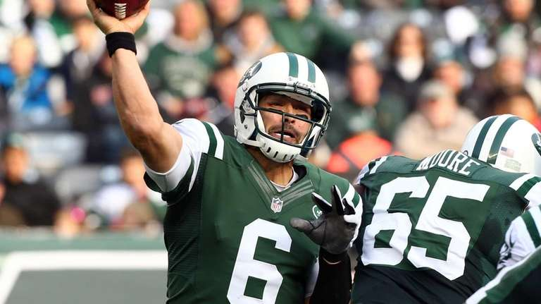 Mark Sanchez throws a pass during a game