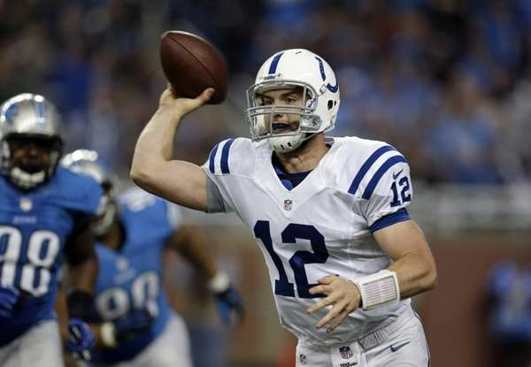 Indianapolis Colts quarterback Andrew Luck passes during the