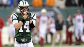 Jets quarterback Greg McElroy reacts during the second