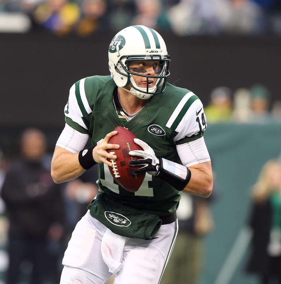 Greg McElroy of the Jets in action against