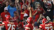 Kansas City Chiefs quarterback Brady Quinn (9) gestures
