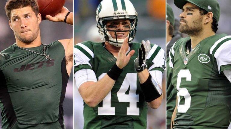 A composite image of Jets quarterbacks Tim Tebow,